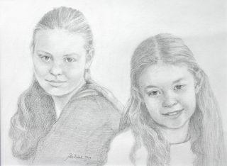 Zusjes, kinderportret in opracht - jokezwaan.nl